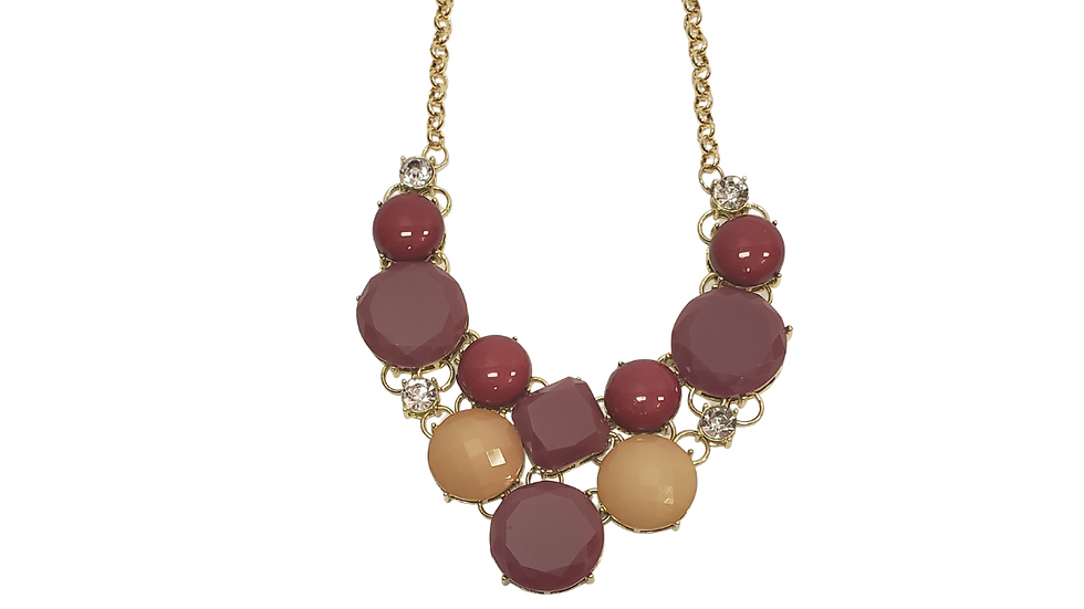 Burgundy & Beige Statement Necklace