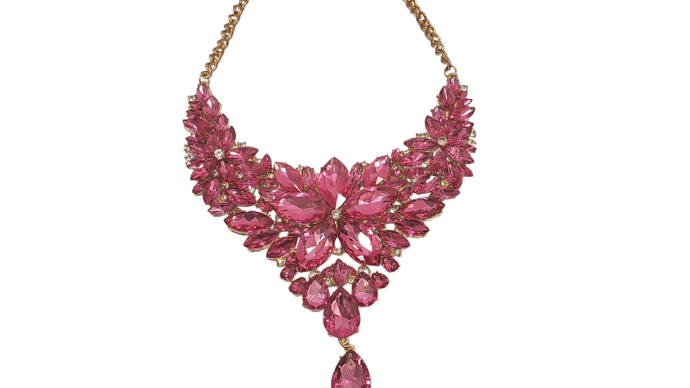 Pink Studded Statement Necklace