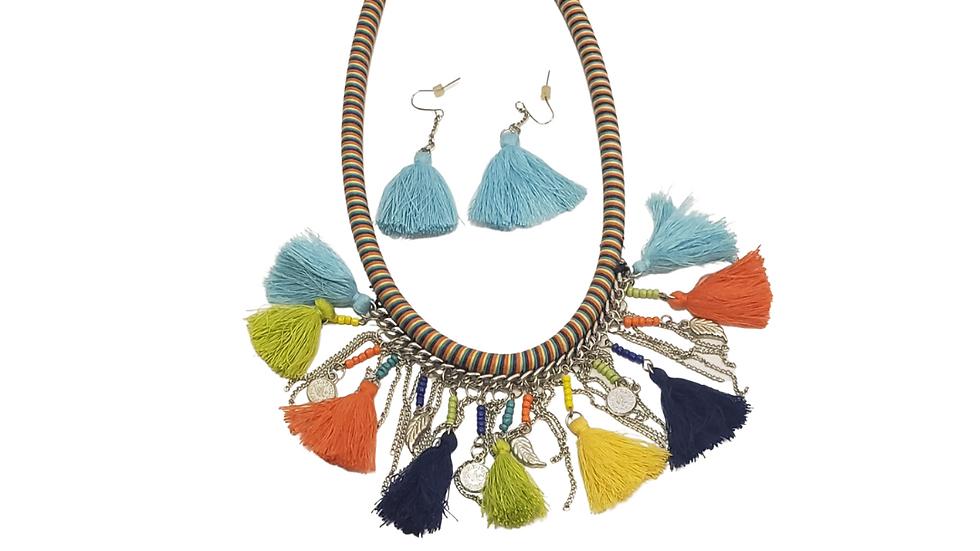 Multi- Color Tassel Choker  & Earring Set