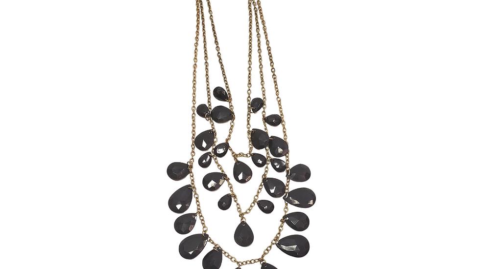 Black 3 Strand Teardrop Necklace