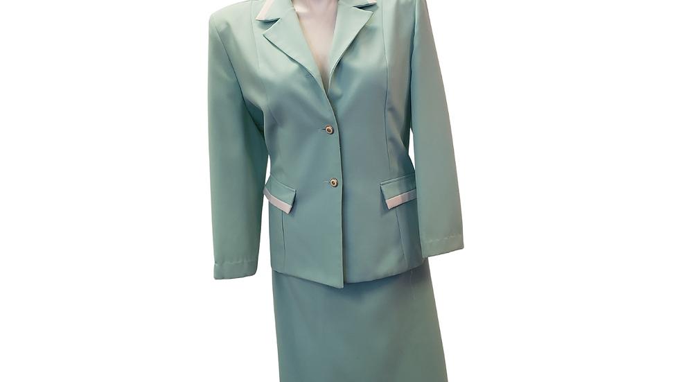 PRE-LOVED Nikki Aqua & Cream 2 Piece Skirt Suit
