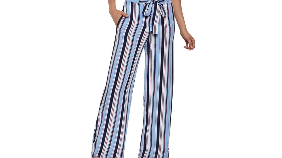 Blue Pinstripe Wide Leg Slack