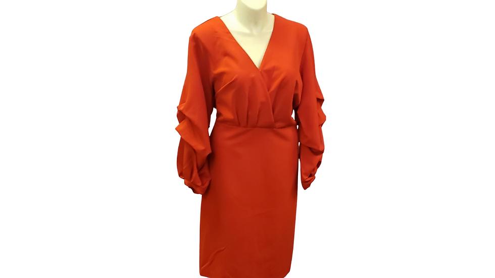 Eloquii Red Scrunch Sleeve Dress