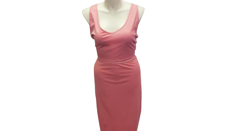 2 Piece Light Pink Crop Top & Skirt Set