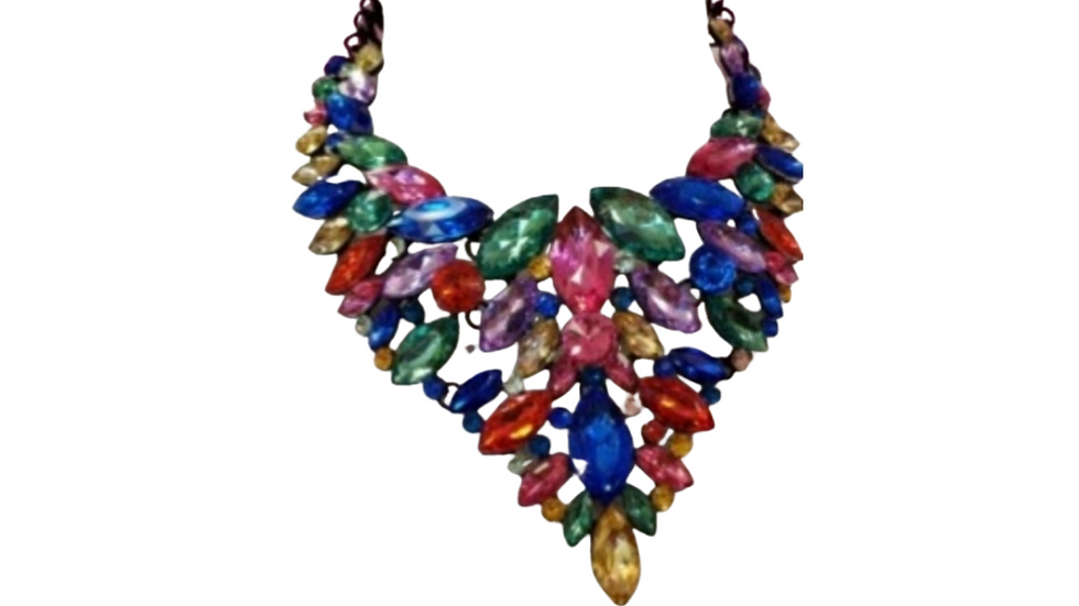 Multi Color Large Stone Statement Necklace