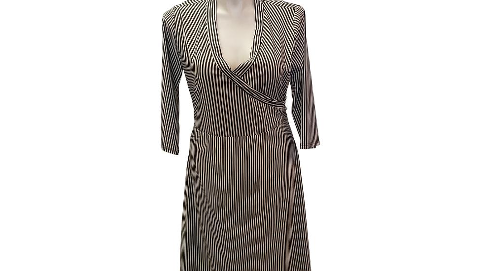 PRE-LOVED Black & White Stripe Dress