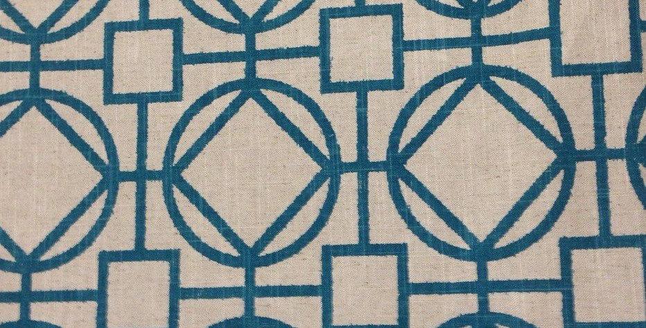 Teal Interlocking Geometric Fabric