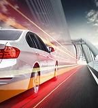 Speeding car, driving on the Highway Bri
