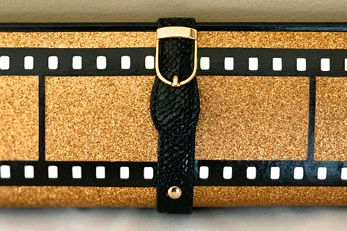 Rose Gold Glitter Film Strip Clutch Bag