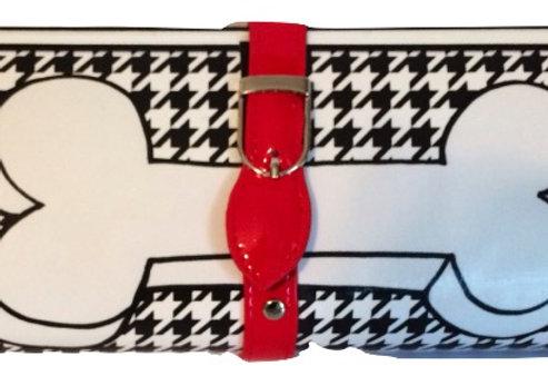Houndstooth Dog Bone Clutch Bag