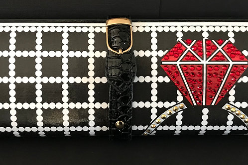 B/W Pearls and Red Diamond Ring clutch bag with rhinestones