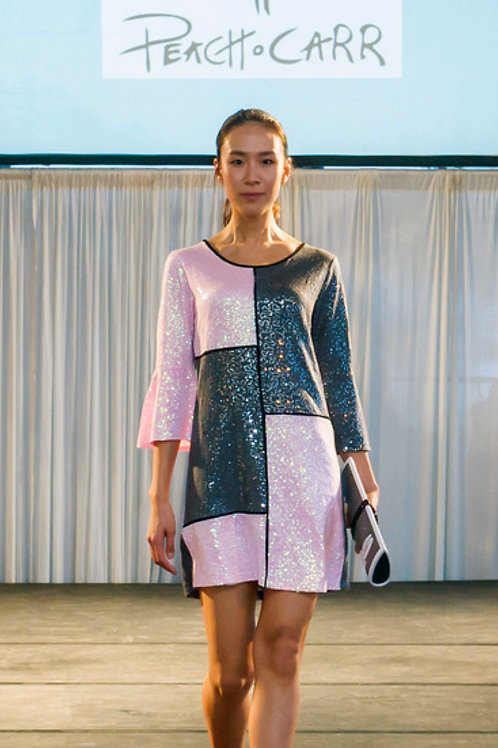 Pink/Grey sequin a-line dress