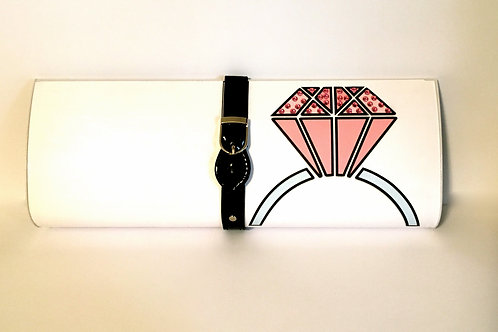 White with Pink Diamond clutch bag with rhinestones