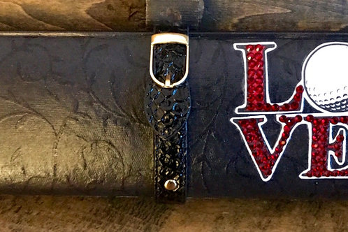 "Textured BLACK clutch bag with rhinestoned GOLF ""LOVE"""