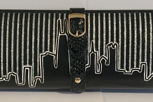 Silver glitter striped Chicago skyline clutch