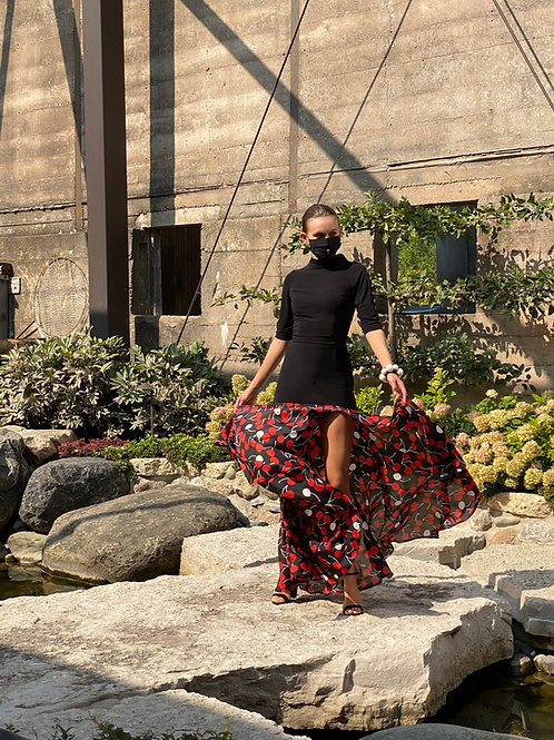 Cherry silk skirt