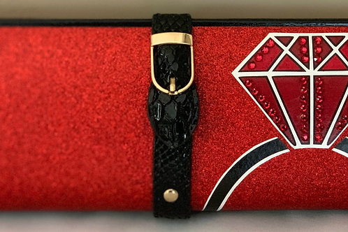 Red Glitter Ruby Ring Clutch Bag