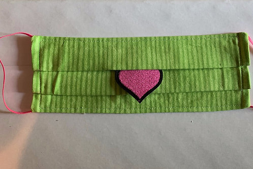 "Lime Green Stripe with Pink Heart ""COCKTAIL"" Mask"