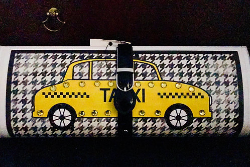 Houndstooth Yellow Cab clutch bag with rhinestones