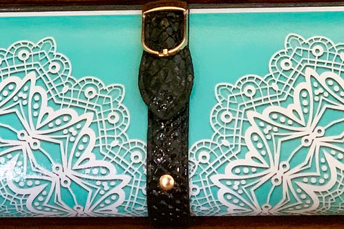 Tiffany-Like Blue/White lace  Clutch Bag
