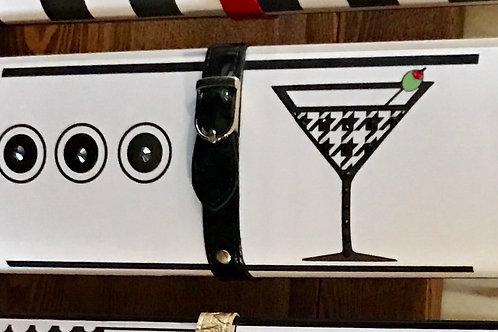 B/W Houndstooth Martini clutch bag with rhinestones