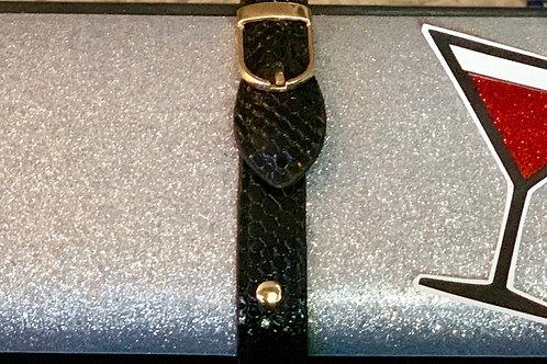 Silver Glitter Martini Clutch Bag