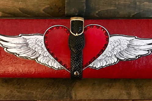 """Textured RED clutch bag with wings and rhinestoned red """"kiss"""""""