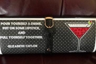 Liz Taylor Quote clutch bag with rhinestones