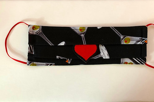 """Giant Martini Print """"Cocktail"""" Mask  RED heart"""