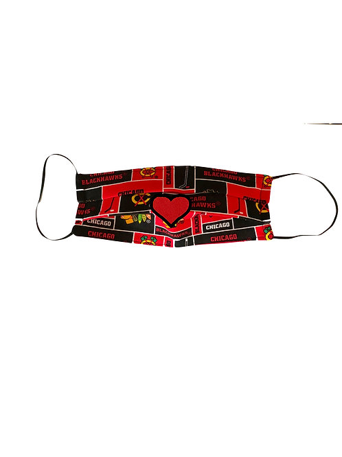 Chicago BLACKHAWKS Cocktail Mask with red heart
