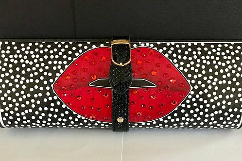 MINI polka dots, red lips clutch bag with rhinestones