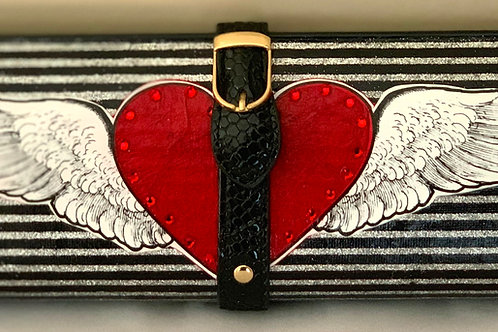Black/Silver Stripe Glitter With Winged Heart Clutch Bag