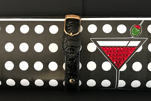 Medium Dot/ red Martini clutch bag with rhinestones