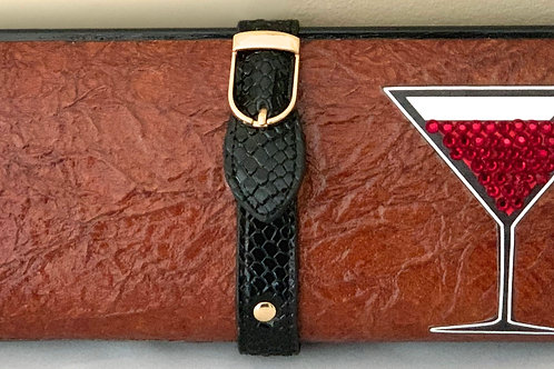 Brown Crinkle with Red Martini Clutch Bag