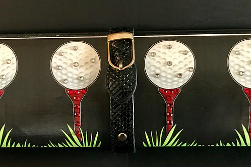 Golf ball/tee clutch bag with rhinestones