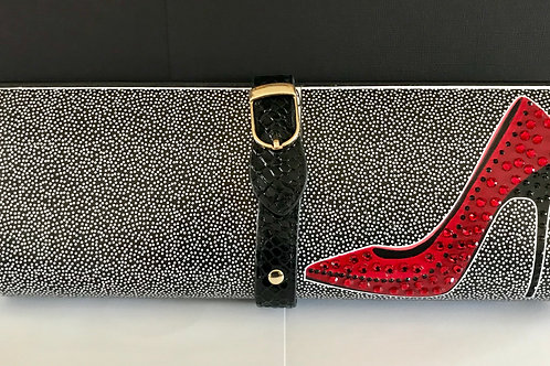 TEENY dots with red stiletto clutch bag with rhinestones