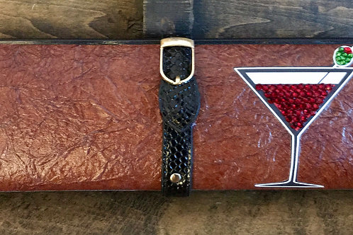Textured BROWN clutch bag with wings and rhinestoned red martini