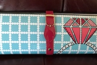 Tiffany blue with PINK diamond clutch bag with rhinestones