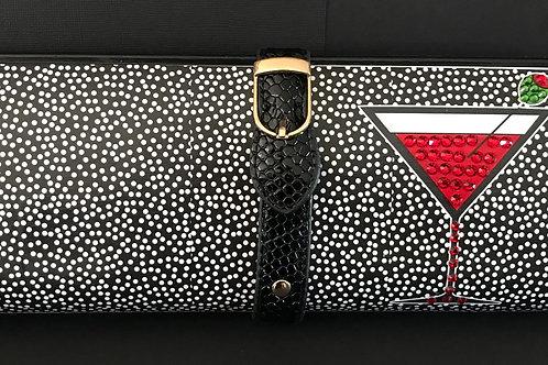 Mini Dot/ red Martini clutch bag with rhinestones