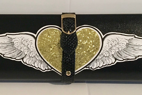 Shimmer black with gold angel wings clutch