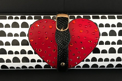 White/ Black Half Dot and Red Heart clutch bag with rhinestones
