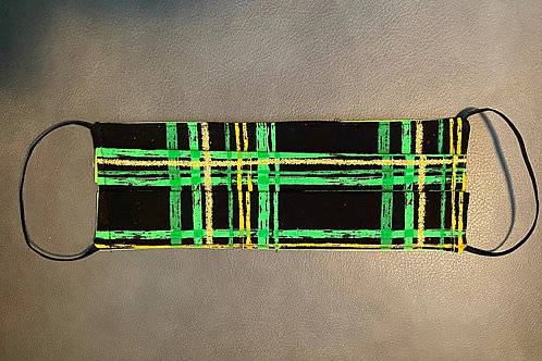 Black, Green and Gold Plaid  Mask!