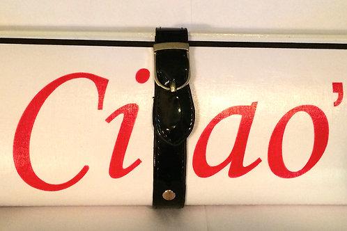 "RED ""CIAO"" with black strap Clutch Bag"