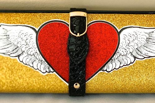 Gold Glitter With Winged Heart Clutch Bag