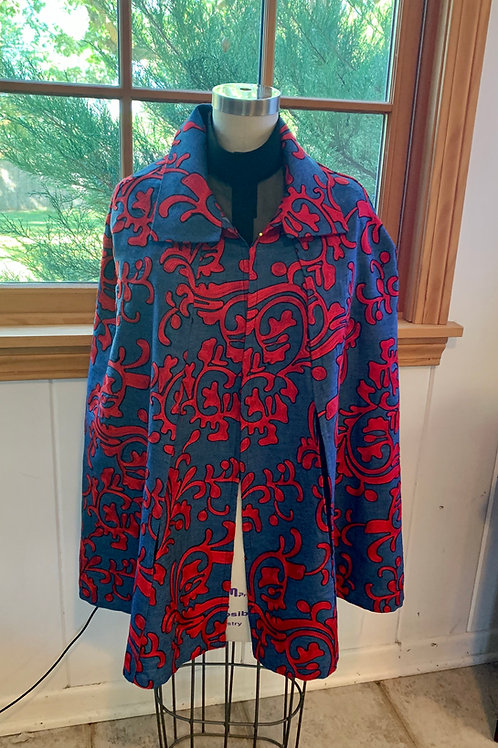 Chambray with Red Embroidery Cape.