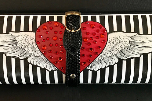 Heart with Angel Wings on stripes clutch bag with rhinestones
