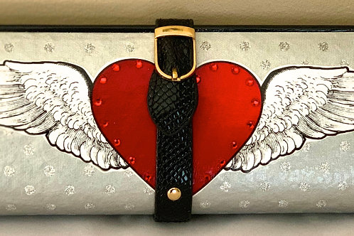Silver Dot Glitter With Winged Heart Clutch Bag