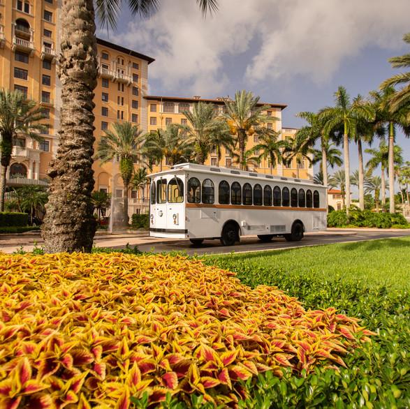 Wedding trolley _ Miami Coral Gable White Trolley Wedding Transportation.jpg