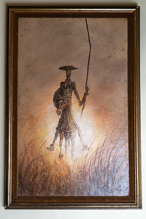 Don Quixote Painting in Oil with Frame