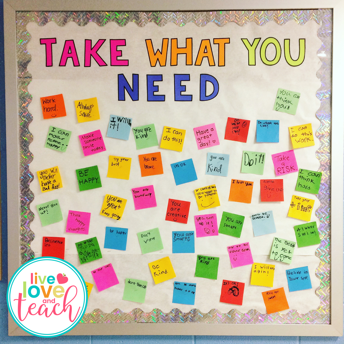 take what you need bulletin board set live love and teach